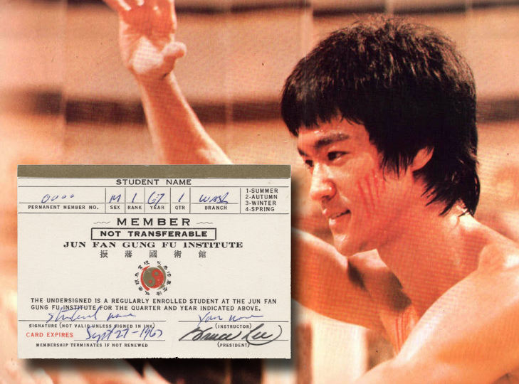 Bruce Lee Autographed Membership Card