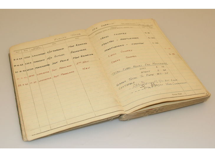 Guy Gibson Autographed RAF Log Book