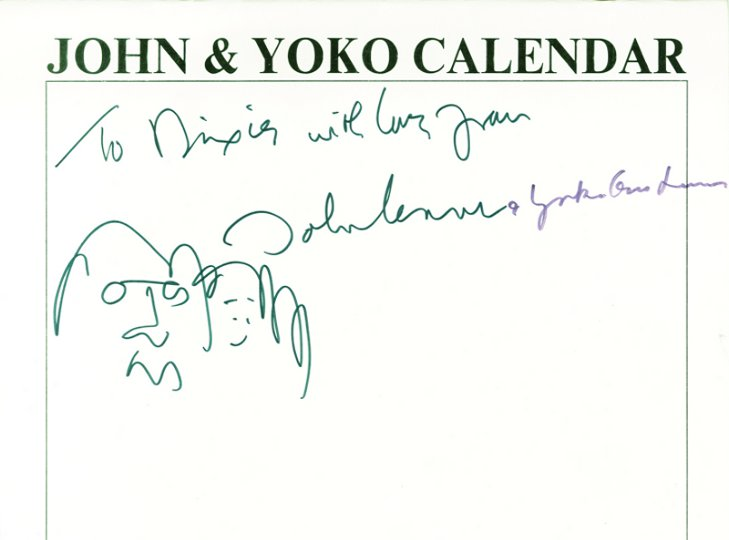 John Lennon/Yoko signed calendar