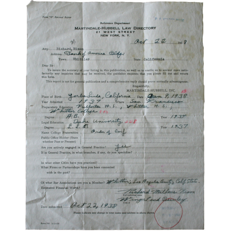 Richard Nixon Signed Form