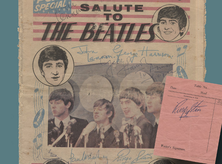 The Beatles Autographed Newspaper