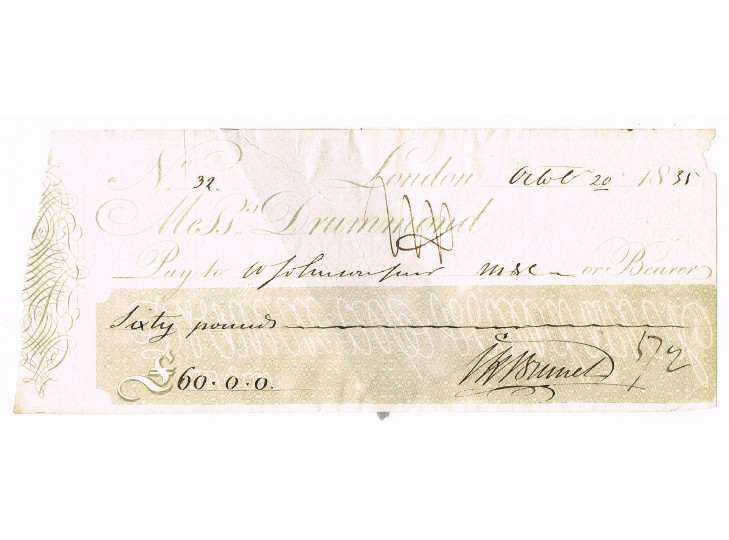 Isambard Kingdom Brunel Signed Bank Cheque