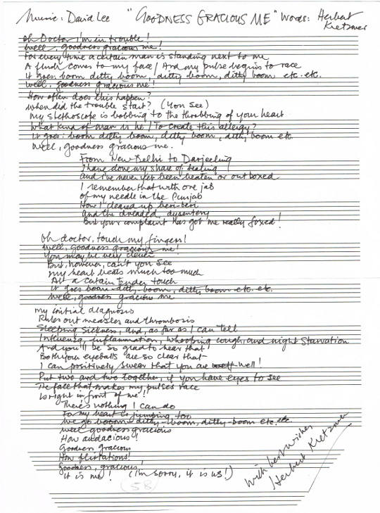 Herbert Kretzmer Handwritten Signed Lyrics to Goodness Gracious Me