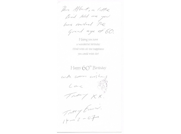 Tracey Emin Signed Birthday Card