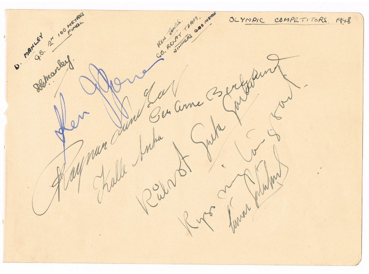 Greta Garbo & 1948 Olympic Competitors Autographs