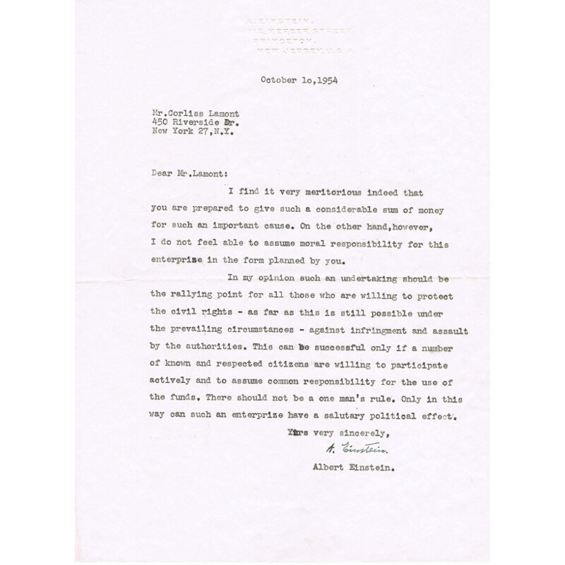 Albert Einstein signed letter (iv)