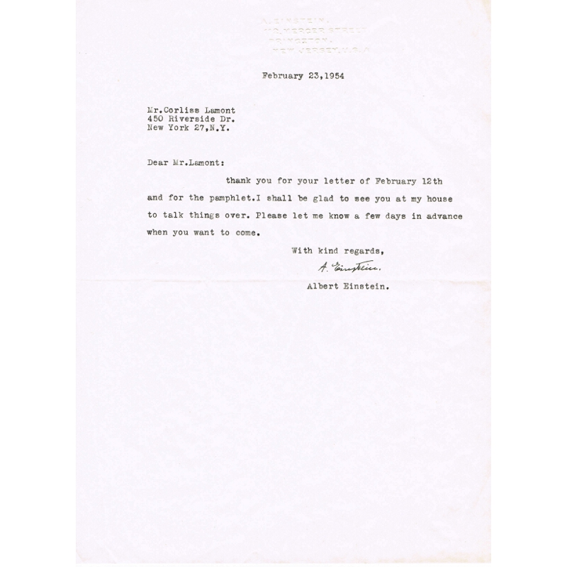 Albert Einstein signed letter (iii)