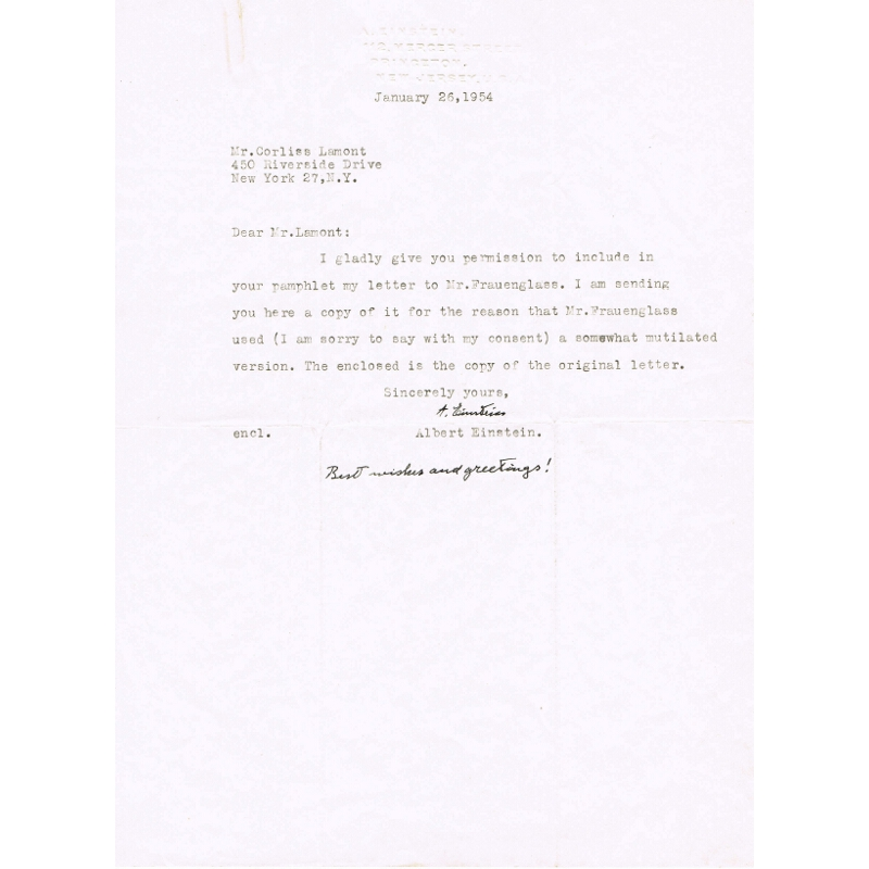 Albert Einstein signed letter (ii)